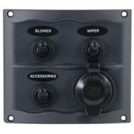 Tableau électrique noir étanche compact 3 interrupteurs + prise A-C
