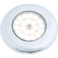 Plafonnier Nova Touch chromé 12 LED avec support de montage, montage encastré ou plaqué