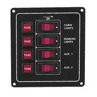 Tableau électrique vertical 4 interrupteurs 115 x 123 x 50 mm en aluminium anodisé