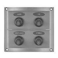 Tableau électrique étanche 4 interrupteurs 110 x 100 x 60 mm Fusibles 2 x 15 A