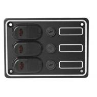 Tableau électrique 6 interrupteurs 135 x 192 x 70 mm Fusibles 6 x 15 A en aluminium anodisé