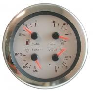 Indicateur multifonctions manomètre huile / thermomètre / carburant / voltmètre VEETHREE Multi