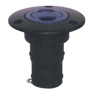 Nable noire plastique eau 38mm bouchon bleu