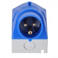 Socle de connecteur (saillie) 2P + T16A avec bouchon