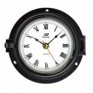 """Horloge 4.5"""" chrome noir PLASTIMO"""